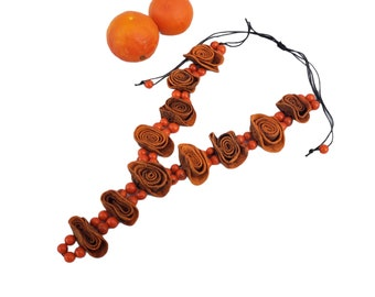 Orange peels flowers Y long necklace/Statement necklace/ Upcycled Fruit Jewelry/Handmade necklaces/Eco friendly jewelry/Bohemian necklace