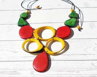 Wild FLora bib/ Statement  Yellow and red Tagua necklace/ Bold jewelry/Tropical necklace/Tiki and resort beach  jewelry by  Allie