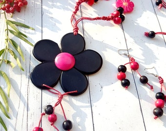 Flower tagua long necklace/handmade necklaces/gift ideas/by Allie