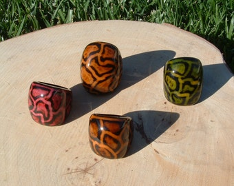 Tagua leopard ring SIZE 6  hand painted many colors
