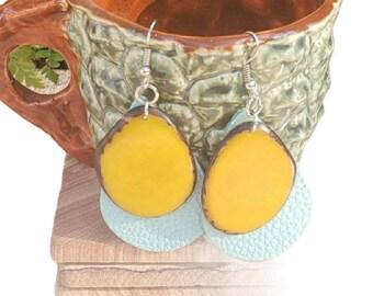 Leather teardrop Earrings/Tagua Drop Earrings/Long earrings/Statement earrings/Color block earrings/Light weight earrings