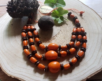 Tagua chunky necklace/ Long necklace/ Layered nuts necklace/ Statement necklace/ Eco Friendly/ Green necklace/ Turquoise necklace/ By Allie