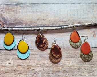 Colorful Dangling Earrings/ Tagua & Leather Earrings/Drop Earrings/Long earrings/Boho earrings/Color block earrings/Organic earrings/