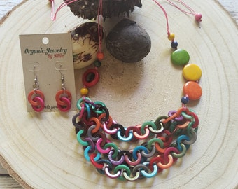 Tagua Chain rainbow Necklace/ Layered chain Necklace/ Colorful Necklace/Multicolor necklace/ Mothers day gifts/Eco friendly jewelry by ALLIE