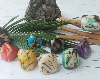 Tagua nut rings SIZE 8/ Rustic Rings/Chunky Rings/Nut wooden Rings/ Raw Rings/ Ecofriendly nut rings/Statement big bold oversize rings