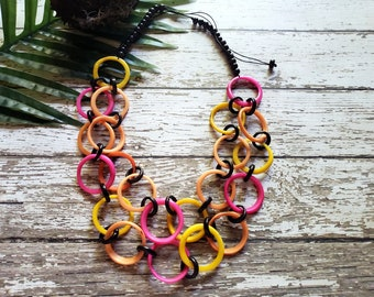 CHAIN long necklace /Tagua necklace/Tagua jewelry/ Statement necklace/ Handmade jewelry/ Fashion jewelry/Infinity necklace/Gifts ideas
