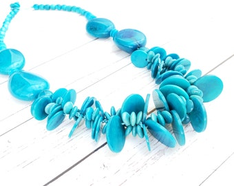 Kalulani the last Princess CHUNKY  tagua necklace/statement necklace/ tropical necklace by ALLIE/islander necklace