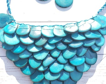 Mermaid tagua nut handwoven necklace/anchor jewelry/statement necklace/gift ideas/chunky jewelry/bib necklace by Allie