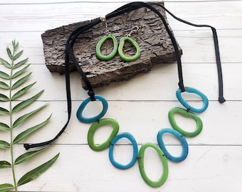 Tagua Donuts wings whimsical necklace/ Teal Tagua necklace/ Turquoise tagua Necklace/Pinks tagua necklace/ Eco friendly Natural jewelry