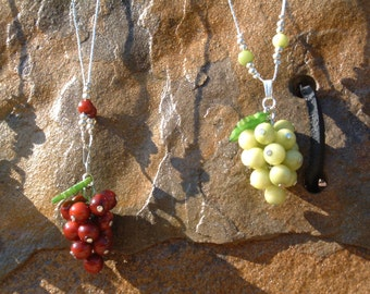 CA  Vineyards tagua grapes pendant or grapes necklace in alpaca silver chain by Allie/wine lover jewelry