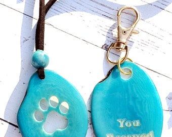Tagua nut paw pendant & dog tag 2PC set/dog paw/dog jewelry/ jewelry set/ dog lovers gifts/ jewelry set/for charity/gift set/cameo set
