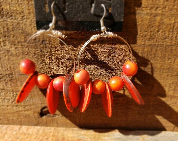 """Tagua nut big hoop earrings raw funky jewelry  80s inspired oversized earrings 2.5 """" long"""