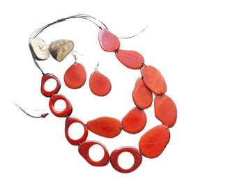 Tagua red Turquoise long layers necklace/ Statement beaded necklace/Ecofriendly unique jewelry/Slow fashion jewel/Ethical boho necklace