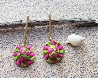 Straw Woven Disks earrings/Brass sticks and straw Colorful earrings/Whymsical hats earrings/Mixed media earrings/ Skinny everyday earrings/