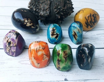 Tagua nut rings SIZE 6.5/ Rustic Rings/Chunky Rings/Nut wooden Rings/ Raw Rings/ Ecofriendly nut rings/Statement big bold oversize rings