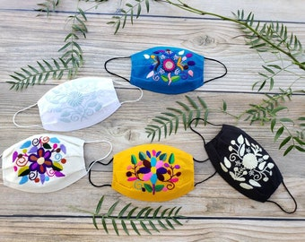 Embroidered breathable flowers cotton masks / Ethnic Reusable masks/ 3 layers mask with filter pocket/ Washable mask with filter/