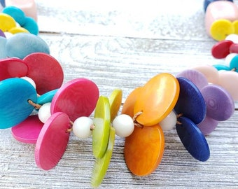 Funky chunky circles tagua nut necklace statement necklace