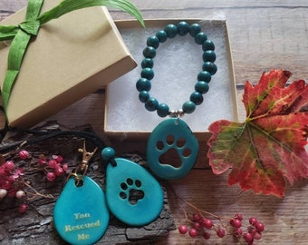 Jewelry set for dog parents/ Paw necklace set/ Dog lovers gifts/For charity/Jewelry set for Rescue pet parents/Jewelry for foster parents