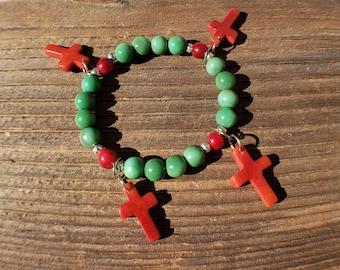 Cross charms bracelet/ religious jewelry/ girlfriend bracelets/ communion favor/ tagua bracelet by Allie