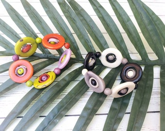 Tagua colorful bracelets/ Circles bracelet/ Geometric bracelet/ Interlinked Circles bracelets/ Mod Statement stretchy bracelet/