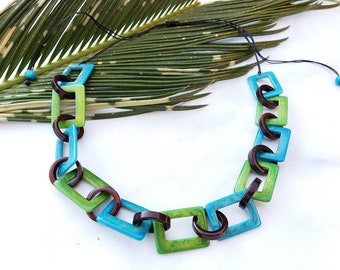 Square chain tagua necklace / turquoise and green or red and black necklace by Allie