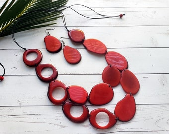 Tagua red or Turquoise long layers necklace/ Statement asymmetrical necklace/ Long bold red necklace/Tagua Red Handmade necklace