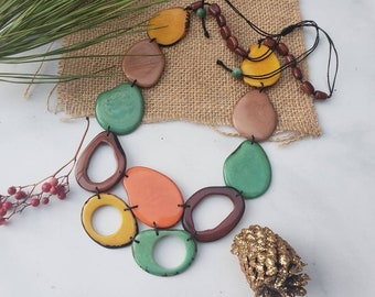 Tagua nut earth colors autumn necklace /bib necklace/mothers day jewelry/beach jewelry/statement necklace/handmade jewelry