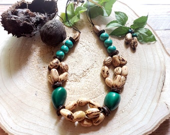 Tagua chunky long necklace/ Beaded nuts necklace/ Tagua jewelry sets /Eco friendly jewelry/Teal Turquoise necklaces/ Boho Chic Jewelry