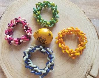 Beaded tagua bracelets/Colorful chunky bracelet/  Bold bracelets/ Statement stretch bracelet/Eco friendly Bracelets/ Boho bracelets