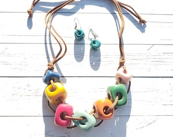 Cubes multicolor tagua statement necklace set  by Allie geometric necklace chunky necklace