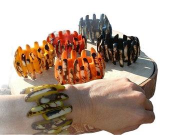 Tagua nut bracelet/Claws Chunky Bracelets/ Wonder woman bracelet/ Organic wooden bracelets/ Rustic Tropical bracelets/ Bold Colorful cuffs