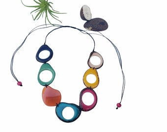 Tagua multicolor beads tagua necklace/ Statement Ecofriendly necklace/Rainbow jewelry/Gifts for her/Sustainable fair jewelry