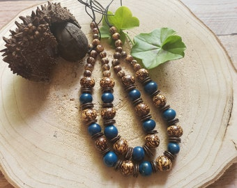 Tagua chunky necklace/Statement Beaded necklace/Layered LONG necklace/ Bohemian Handmade necklace/  Seeds and coco necklace/ Ecojewelry