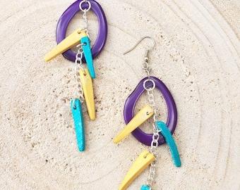 Tagua long feather Earrings / Turquoise tagua earrings/ Coconut wood earrings/Eco Friendly earrings/ Chained earrings/Dangle hoop earrings