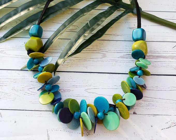 Featured listing image: Funky chunky circles tagua nut necklace statement necklace
