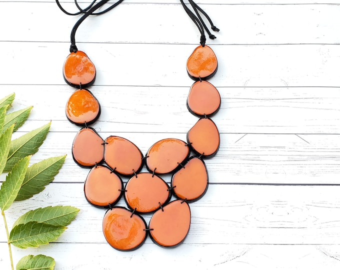 Featured listing image: Tagua burned orange necklace/Statement Orange bib/Red necklace/ Jade Green necklace/Purple Necklace/ by Allie