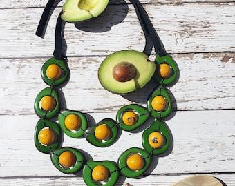Forbidden fuit/Avocado shaped tagua necklace/green necklace/avocado necklace/ by Allie/ sustainable organic jewelry