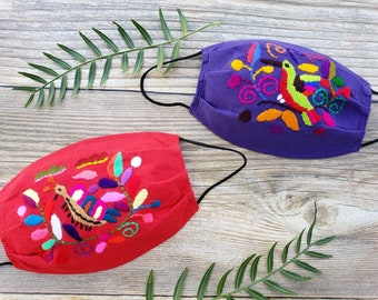 Embroidered breathable humming birds cotton masks / Ethnic Reusable masks/ 3 layers mask with filter pocket/ Washable mask with filter/