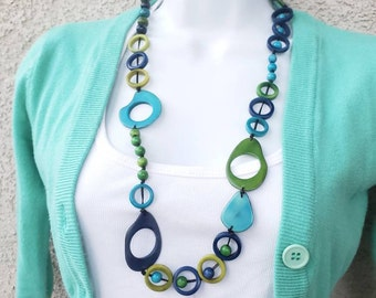 Playful rings tagua nut long lariat necklace many colors by Allie
