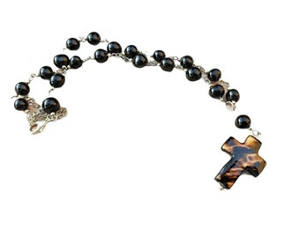 Rosary style necklace/  Tagua Cross necklace/ Catholic jewelry/Christian jewelry/Religious Gifts/ Faith Gifts/ Cross jewelry for women