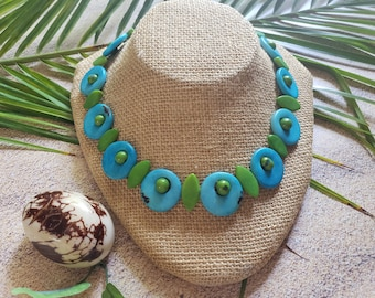 Circles and leaves tagua turquoise necklace/Eco sustainable jewelry/Tagua statement necklace/Tagua aqua organic necklace/Gifts for her