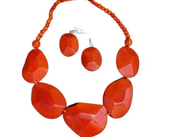 Ovals Red Necklace /Tagua bold statement necklace/ Teal necklace/ Turquoise necklace/ orange necklace by Allie/ Statement eco jewelry