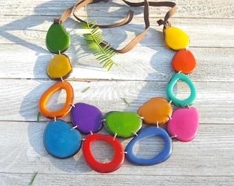 Tagua nut rainbow necklace /bib necklace/mothers day jewelry/beach jewelry/statement necklace/handmade jewelry