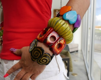 Tagua colorful bracelets/ Square bracelets/ Rustic Raw bracelet/ Wooden Bracelets/ Statement cuff Bracelet/Boho Chic /Tropical bracelet