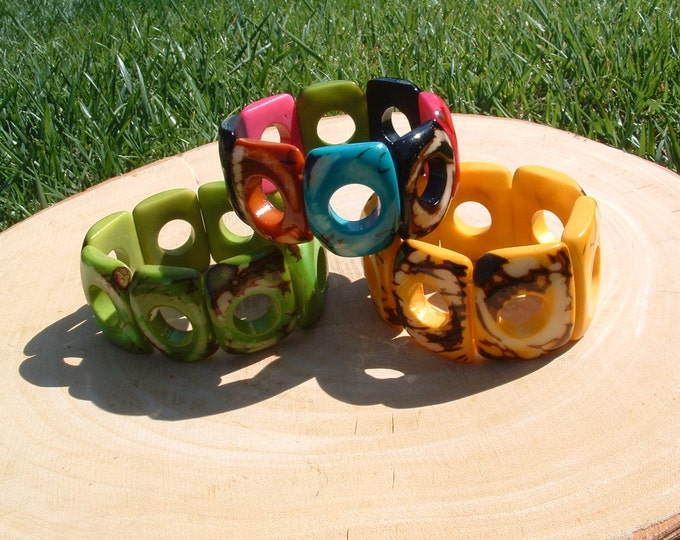 Geometric tagua bracelet ,hollow marble squares bracelet by Allie yellow,green and multicolot/tagua jewelry