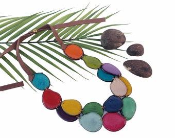 Tagua aqua long necklace/ Statement necklace/ Long bold  ethical bead necklace/Multicolor necklace/ Wooden blue ecofriendly fashion necklace