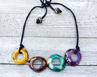 Tagua multicolor choker tagua rings  by ALLIE