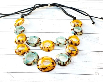 Rings bib/ Infinity Bib/ Tagua statement necklace/ Aqua necklace/Earthy colors necklace/ Rustic necklace/Resin and tagua bib/Blush bib/ALLIE