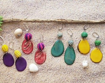 Straw teardrop Earrings/Tagua Drop dangle Earrings/Long earrings/Statement earrings/Long earrings/Colorful  earrings/Mixed media earrings/
