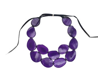 Tagua bib necklace/ Statement bib necklace/ Pinks necklace/ Purple bib/Eco friendly Necklace/ Gift Ideas for mom